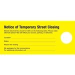 Doorknob Card, Street Closing, Bi-lingual, Bright Yellow