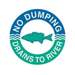das Storm Drain Marker - Reads No Dumping - Drains to River