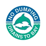das Storm Drain Marker - Reads No Dumping - Drains to Bay
