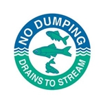 das Storm Drain Marker - Reads No Dumping - Drains to Stream