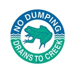 das Storm Drain Marker - Reads No Dumping - Drains to Creek