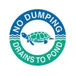 das Storm Drain Marker - Reads No Dumping - Drains to Pond