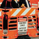 """Danger Confined Space"" Sign for Manhole Guard"