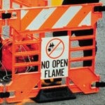 """No Open Flame"" Sign for Manhole Guard"