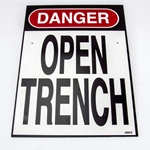 """Danger Open Trench"" Sign for Manhole Guard"