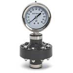 "2-1/2 Dry Gauge w/ PVC/Teflon Diaphgragm Seal and 1/2"" NPT(F) Connection, 0 to 200 PSI"