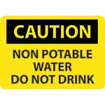 "Caution Sign: Non Potable Water Do Not Drink - 10"" x 14""' Rigid Plastic' C361RB"