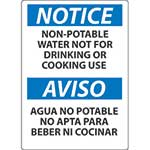 "Notice Sign: Non Potable Water Not For Drinking or Cooking Use (Bilingual) - 10"" x 14""' Rigid Plastic' ESN50RB"
