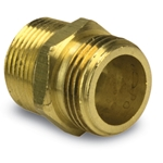 "Brass Double Male Nipple (No Lead), 3/4""NPT(M) & 1/2""NPT(F) x 3/4""GHT(M), 757478-121208"