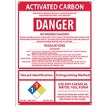 """Activated Carbon"" Full Disclosure Sign' Plastic' 14"" x 10"""