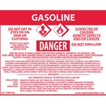 """Gasoline"" Right-To-Know Sign Decal' 3-1/2"" x 4-1/2"""