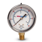 "USABlueBook 4"" Liquid-Filled Gauge' 0 to 30 psi' Brass' SS Case"