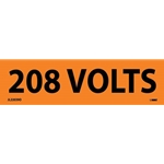 "Electrical Safety Markers: ""208 Volts'"" Vinyl' 1-1/8"" x 4.5""' 25/Pack"