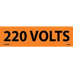 "Electrical Safety Markers: ""220 Volts'"" Vinyl' 1-1/8"" x 4.5""' 25/Pack"