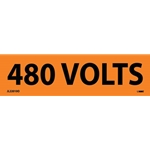 "Electrical Safety Markers: ""480 Volts'"" Vinyl' 1-1/8"" x 4.5""' 25/Pack"