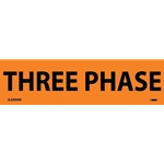 "Electrical Safety Markers: ""Three Phase'"" Vinyl' 1-1/8"" x 4.5""' 25/Pack"