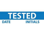 "Write-On Vinyl Inspection/Calibration Labels: ""Tested"" (Blue)' 1"" x 2-1/4""' 25/Pack"