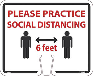 Please Practice Social Distancing Traffic Cone Sign