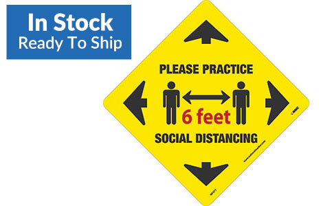 Please Practice Social Distancing Floor Sign