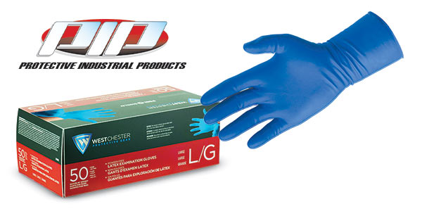 PIP 2550 Blue Latex Exam Gloves