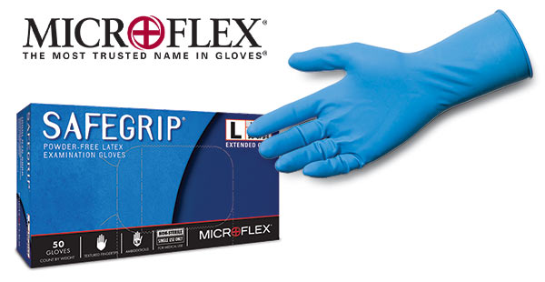 Microflex® SafeGrip® Extended-Cuff Latex Gloves