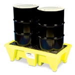 For secondary containment of leaking chemicals. Made from heavy duty polyethylene. Units exceed 40 CFR 264.175. Four-drum pallet holds up to 6000 lbs and has a sump capacity of 66 gallons. Weighs 91 lbs. Shipping: Ships motor freight.