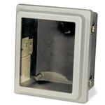 Durable enclosures have raised cover with lockable snap latch and are UV-resistant. Hinges, latch and mounting screws are made of stainless steel. Optional steel back panel and aluminum hinged deadfront panel are not included, ordered separately. Note: Stock #s 42947 ...