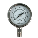 These gauges are excellent to use in high vibration and pulsation applications. They feature a stainless steel case for protection in harsh environments, and copper alloy wetted parts. CAUTION: Do not use these gauges for chlorine applications. Per the Federal ...