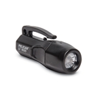 This LED flashlight measures 2.75 x 1 inches and requires four LR44 batteries.