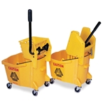 Brute mop buckets feature a large pouring spout and handle to assist in emptying, and a low front rim to reduce potential back strain when inserting mop. Two different styles of wringers are available: the standard Sidepress wringer; or the ...