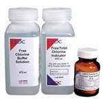 Total chlorine liquid reagent set includes one bottle of total chlorine buffer solution to control pH, one bottle of total chlorine indicator solution and one bottle of DPD powder.