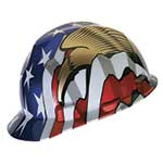 MSA V-Gard hard hats are the #1 selling hard hats worldwide. Made from high-density polyethylene, they provide all-day comfort and superior head protection. Patriotic hard hats feature Fas-Trac III ratchet suspension and are easily adjusted between 6-1/2
