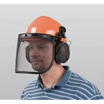 This all-in-one hard hat provides head, ear and face protection for jobs such as tree trimming and debris clean-up. Hat features cap-mounted earmuffs with a noise reduction rating of 22, and a full-face wire mesh visor. Orange color provides maximum ...