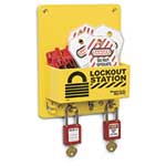 Compact lockout and tag stations are perfect for placement near machines or electrical panels. Their small footprints take up minimal wall space, letting you to place them anywhere you need a lockout device. Their durable molded-plastic construction stands up to ...