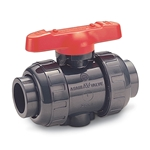 Asahi/America True Union ball valves feature a double O-ring stem design. The upper O-ring groove is deeper than the lower groove, so if the stem breaks, it breaks at the upper groove, leaving the lower O-ring to prevent leakage. PVC ...