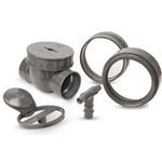 Spears PVC backwater valves prevent backflow in numerous buried applications. They feature a replaceable inter-flapper assembly with EPDM seal. Each valve includes a kit that gives you ground-level access for routine maintenance and cleaning. A service pipe is required, and ...