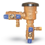 Isolate non-potable or irrigation lines from potable water systems and prevent backflow of hazardous and non-hazardous water into the potable water system. Bronze bodies are equipped with an approved check valve, vacuum relief vent, shutoff valves and test ports. Maximum ...