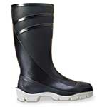 Great for more frequent exposure to solvents, caustics and acids found indoors or outdoors around treatment plants. This PVC polyblend boot has an integrally molded shank and a deep-angle cleated sole and heel. Reinforced at critical stress points. Black.