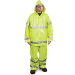 These suits are the ultimate general-purpose raingear. ANSI/ISEA Class 3 compliance means they can be worn in high-risk work environments. They feature 0.35 mm thick high-visibility PVC polyester construction, and are flame and chemical resistant. Jackets feature 2