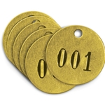 "Brass Identification, Tags 1-1/2"" Diameter, Numbered 26 to 50"