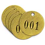 "Brass Identification Tags, 1-1/2"" Diameter, Numbered 51 to 75"