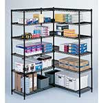 Strong, welded wire construction supports up to 1,000 lbs per shelf. Starter sets include four shelves that adjust in 1