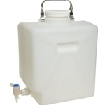 Nalgene Rectangular Fluorinated HDPE Carboy with Spigot, 20L, DS2327-0050