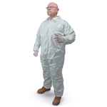 These disposable coveralls offer a comfortable fit while providing the liquid and particle protection you need. They are repellent to liquid splashes, and resistant to dry particulates and bodily fluids. An outer fabric layer protects a lightweight, breathable, microporous film ...