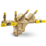 These backflow preventers feature ball valves. Order strainer separately (stock # 58876). Materials: lead-free bronze body, access covers, ball valves and test cocks; glass-filled PPO™ (similar to Noryl™) check valve cartridges; silicon seat discs; EPDM O-rings; 300-series SS fasteners, springs, ...