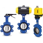 These butterfly valves feature an epoxy coated ductile iron body, 316 stainless steel disc, and an EPDM seat for maximum chemical resistance in a metallic valve. Pneumatically actuated valves have a double-acting rack and pinion actuator, and are also available ...