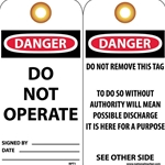 "Tags: Danger Do Not Operate. Removed By - 3"" x 6""' 25/Pack' RPT1G"