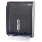 Large-capacity towel dispensers hold up to 400 C-fold or 600 multifold towels. Plastic cover is see-through gray.