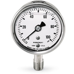 Gauges feature all stainless steel wetted parts and case that last in corrosive environments. Liquid-filled for applications with pulsation or vibration.