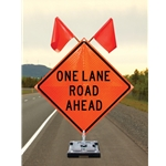 Roll-up signs offer full-size signage in a lightweight and easy-to-store design. Order sign stand separately. Signs fit DynaLite™, Stacker™, Traffix and Zephyr sign stands. Note: Sign includes 2 flags. Shipping: Additional handling fees apply.
